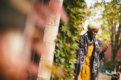 African american woman in autumn park Royalty Free Stock Image