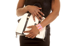 African American Woman Black Dress Body Close Purse Stock Photography