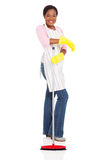 African american woman broom Stock Photography
