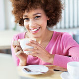 African American woman at cafe Royalty Free Stock Images