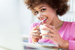 African American woman at cafe Stock Photos