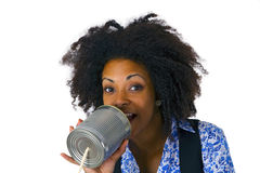 African american woman with can phone Royalty Free Stock Photo