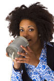 African american woman with can phone Royalty Free Stock Photos