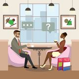 African american woman and caucasian male drinking coffee and t. Beauty african american woman and caucasian male drinking coffee and talking in a cafe,cozy stock illustration