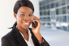 African-American Woman on cell phone Royalty Free Stock Photos