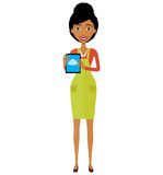 African american woman character with tablet vector illustration royalty free stock images