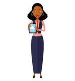 African American woman character with tablet vector isolated on stock photo
