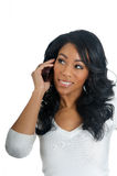 African American Woman chatting on the phone Stock Photo