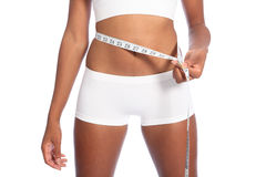 Free African American Woman Checking Diet Weight Loss Royalty Free Stock Images - 20864239