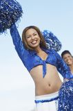 African American Woman Cheering With Pompom Royalty Free Stock Photo