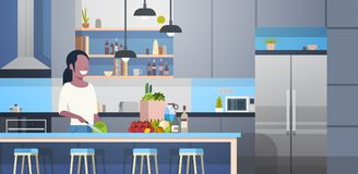 African American Woman Cooking Salad In Modern Kitchen Room. Flat Vector Illustration Stock Image