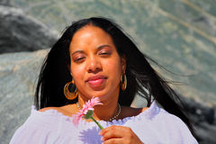 African American Woman and a Daisy Royalty Free Stock Image