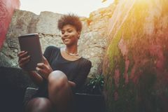 African American woman with digital pad royalty free stock images