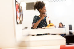 African american woman in the diner. Young african american women in the diner Royalty Free Stock Photo