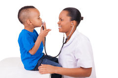 African american woman doctor with child Royalty Free Stock Photography