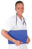African american woman doctor a over white background Stock Photos