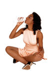 African American woman drinking water. Stock Image