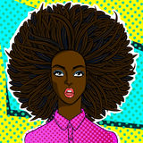 African american woman face in pop art style. Confused or surprised african american woman face in pop art comics style Stock Images