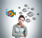 African American woman and fish sketches Stock Photo