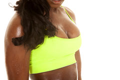 African American woman fitness green body chest Royalty Free Stock Image