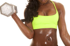 African American woman fitness green body weight front Royalty Free Stock Photo