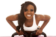 African American woman  fitness white bra push up smile front Stock Images