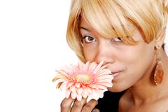 African American woman and flower stock photo
