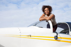 African American woman flying a private plane Royalty Free Stock Images