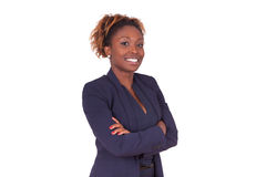 African American woman with folded arms, isolated on white backg Stock Photography