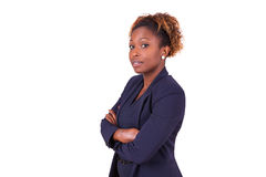 African American woman with folded arms, isolated on white backg Royalty Free Stock Photos