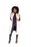 African American woman in fur coat. Royalty Free Stock Photos