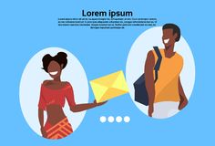 African american woman getting envelope casual man people communication concept cartoon character horizontal copy space vector illustration