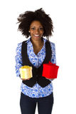 African american woman with gift boxes Stock Photography