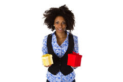 African american woman with gift boxes Royalty Free Stock Photography
