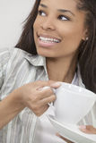 African American Woman Girl Drinking Tea or Coffee Royalty Free Stock Photography