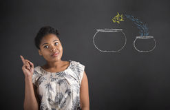 African American woman good idea with fish bowls on blackboard background Royalty Free Stock Image