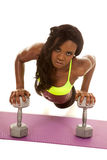 African American woman green bra weights pushup Stock Images