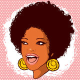 African-American woman with hair in the style of disco and smile stock images