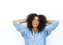African american woman with hands in hair Stock Image