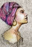 African american woman in headdress. A original ink and watercolor drawing of an African American woman in a turban or headdress with large gold earrings. She stock illustration