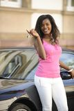 African american woman with her new car Royalty Free Stock Photos
