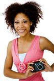 African American woman holding camera Stock Image