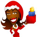 African American Woman Holding Christmas Gifts. A clip art illustration of an African American woman holding Christmas gifts, and dressed in red santa suit and Stock Photos