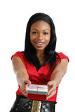 African american woman holding christmas present Royalty Free Stock Photography