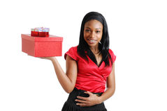 African american woman holding christmas present Stock Images