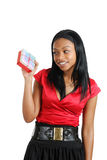 African american woman holding christmas present Stock Photography
