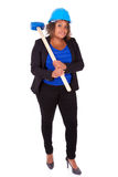 African American woman holding a demolition hammer  - Black peop Stock Photo