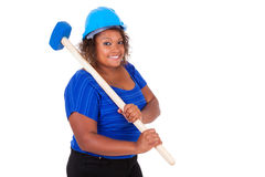 African American woman holding a demolition hammer  - Black peop Royalty Free Stock Photos