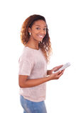 African American Woman holding a tactile tablet Stock Images
