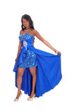 African American Woman In Blue Dress. Stock Images